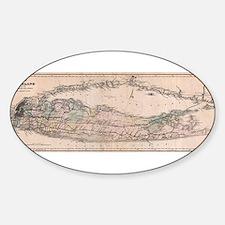 Vintage Long Island NY Railroad Map (1882) Decal