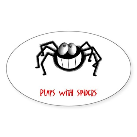 Plays With Spiders Oval Sticker