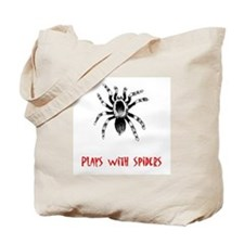 Plays With Spiders Tote Bag