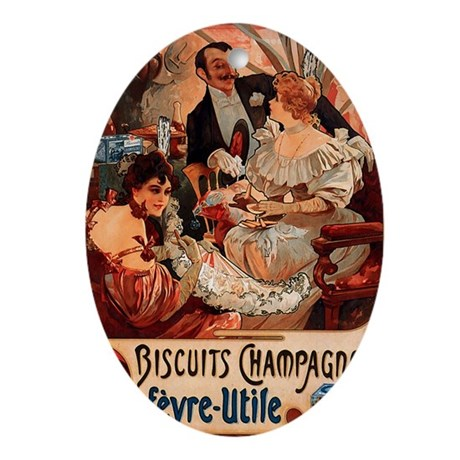 Biscuits Champagne Lefevre Utile by Mucha Ornament