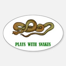 Plays With Snakes Oval Decal