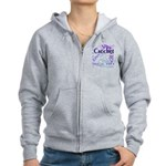 Crochet Purple Women's Zip Hoodie