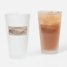 Vintage Long Island NY Railroad Map Drinking Glass