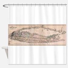 Vintage Long Island NY Railroad Map Shower Curtain