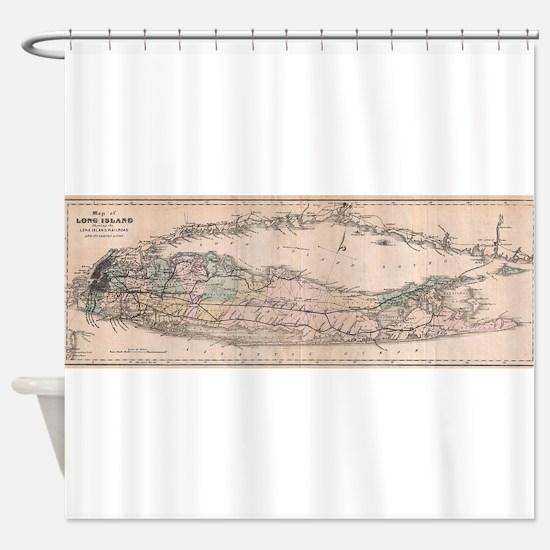 Vintage Long Island NY Railroad Map Shower Curtain
