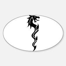 Tribal Dragon Dagger Sticker (Oval)