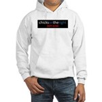 Chicks on the Right Red White Hooded Sweatshirt