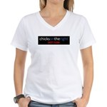 Chicks on the Right Red White Women's V-Neck T-Shi