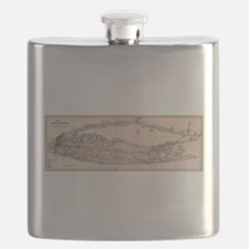 Vintage Long Island NY Railroad Map (1882) Flask
