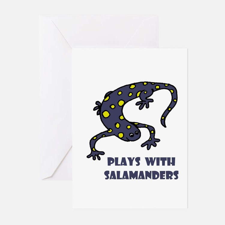Plays With Salamanders Greeting Cards (Package of