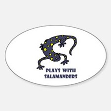 Plays With Salamanders Oval Decal