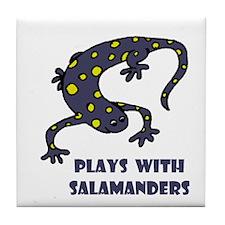 Plays With Salamanders Tile Coaster