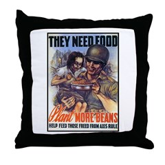 Plant More Beans Poster Art Throw Pillow