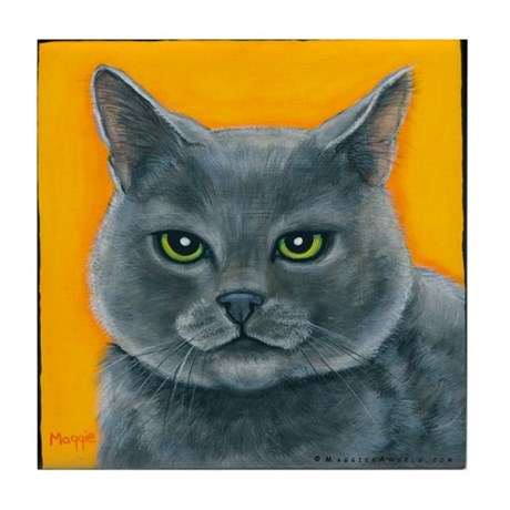 """Russian Blue Cat """"Bill the Pickle"""" Tile Coaster"""
