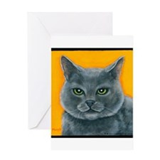 """Russian Blue Cat """"Bill the Pickle"""" Greeting Card"""