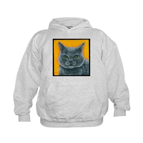 "Russian Blue Cat ""Bill the Pickle"" Kids Hoodie"