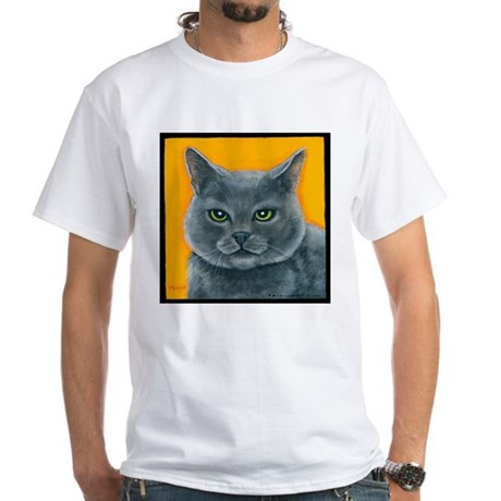"""Russian Blue Cat """"Bill the Pickle"""" White T-Shirt"""