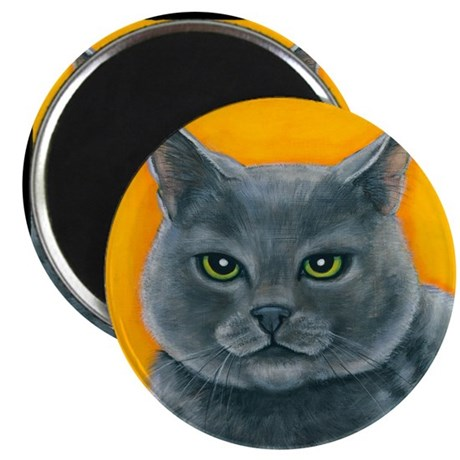 "Russian Blue Cat ""Bill the Pickle"" Magnet"