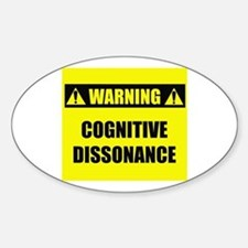 WARNING: Cognitive Dissonance Sticker (Oval)