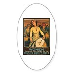 Women Power Poster Art Oval Sticker