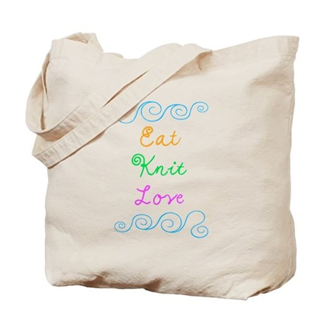 Eat Knit Love Tote Bag