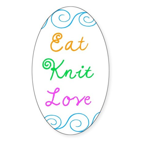 Eat Knit Love Sticker (Oval)