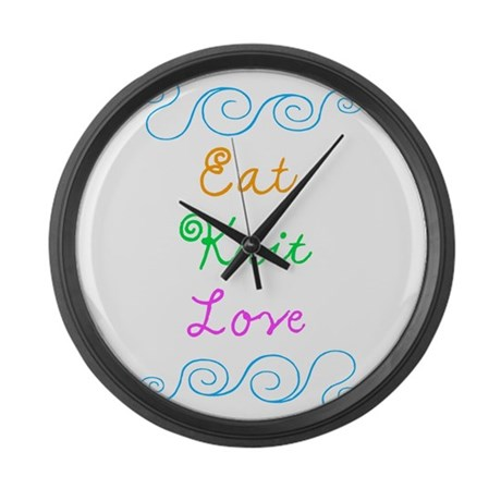 Eat Knit Love Large Wall Clock