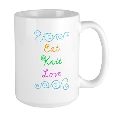 Eat Knit Love Large Mug