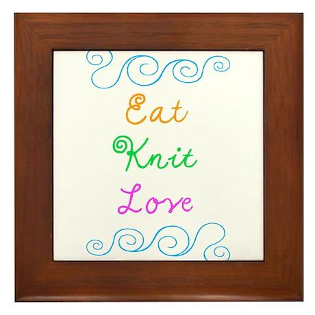 Eat Knit Love Framed Tile