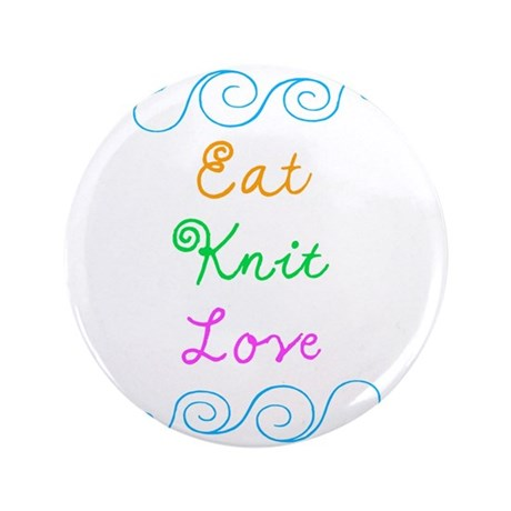 "Eat Knit Love 3.5"" Button (100 pack)"