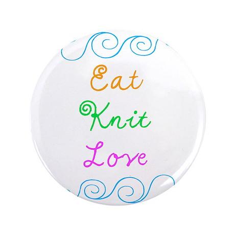 "Eat Knit Love 3.5"" Button"
