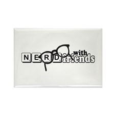 Nerd with Friends Rectangle Magnet