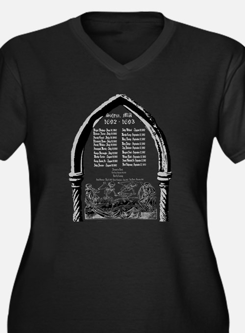Salem Witch Trials Women's Plus Size V-Neck Dark T