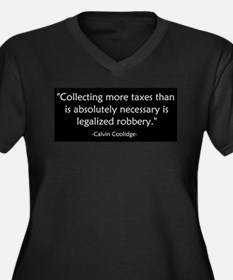 Calvin Coolidge Quote taxes Women's Plus Size V-Ne