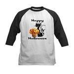 Halloween Black Cat Kids Baseball Jersey
