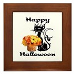 Halloween Black Cat Framed Tile