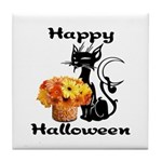 Halloween Black Cat Tile Coaster