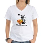 Halloween Black Cat Women's V-Neck T-Shirt