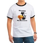 Halloween Black Cat Ringer T