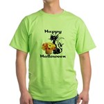 Halloween Black Cat Green T-Shirt