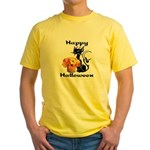 Halloween Black Cat Yellow T-Shirt