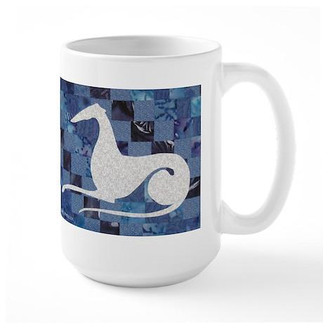 White on Blue Large Mug