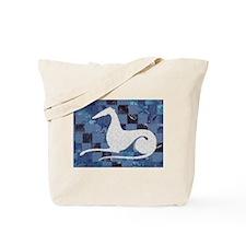 White on Blue Tote Bag