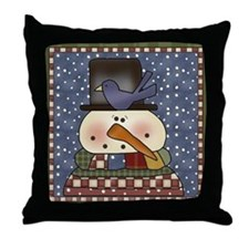 Snowman and Bluebird Throw Pillow