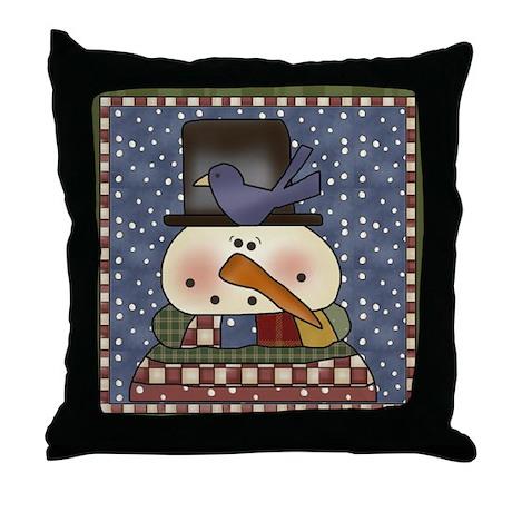 Snowman and Bluebird Throw Pillow