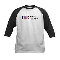 I Love Calvin Coolidge Kids Baseball Jersey
