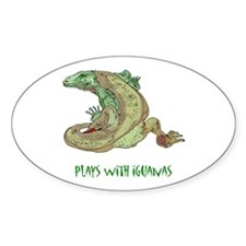Plays With Iguanas Oval Decal