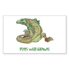 Plays With Iguanas Rectangle Decal
