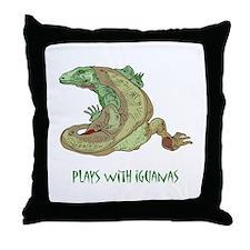 Plays With Iguanas Throw Pillow