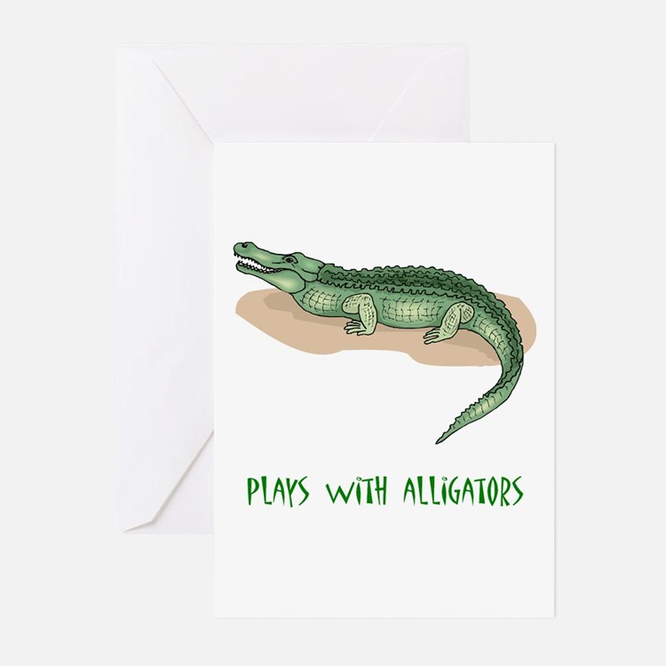 Plays With Alligators Greeting Cards (Pk of 10